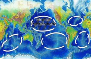 A 'illa de plástico' está situada no xiro oceánico do Pacífico norte, un dos cinco grandes xiros oceánicos.